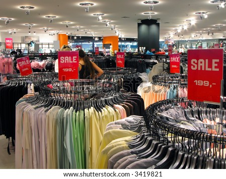 Sale in fashion wearing shop