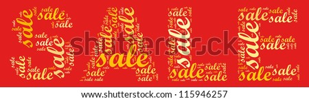 sale in word collage