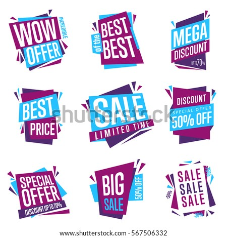 Sale isolated banners set. Best price badge. Big sale, best of the best, special offer tag. Advertisement symbol. Collection of sale labels. Raster illustration of flat design style.