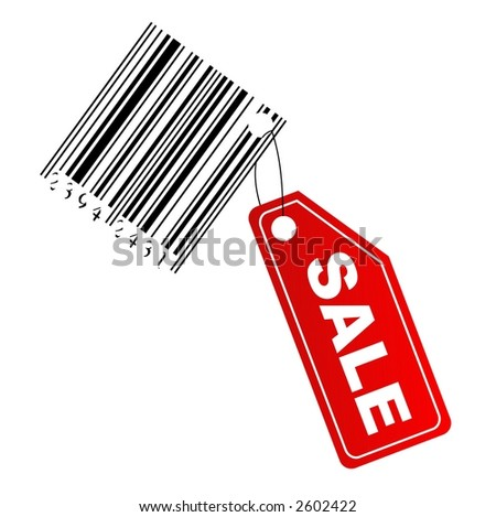 Sale label with barcode