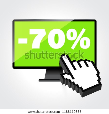 Sale, markdown, discount 70 percent on High-quality computer display, monitor screen. Reduced Prices. Special offer. Shopping badge with percentage discount.