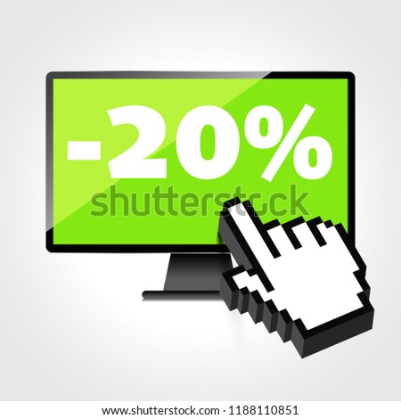 Sale, markdown, discount 20 percent on High-quality computer display, monitor screen. Reduced Prices. Special offer. Shopping badge with percentage discount.
