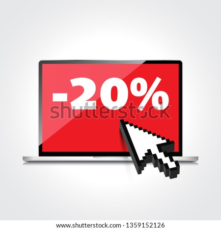 Sale, markdown, discount 20 percent on High-quality laptop screen. Reduced Prices. Special offer. Shopping badge with percentage discount.