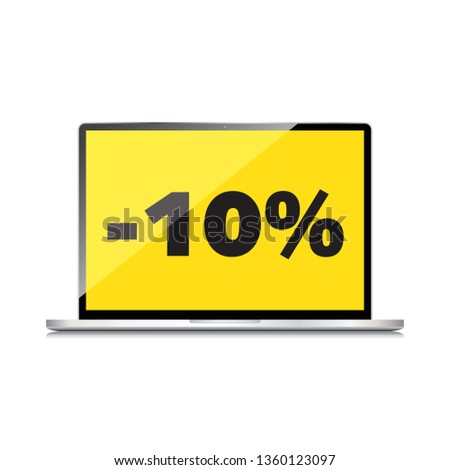 Sale, markdown, discount 10 percent on High-quality laptop screen. Reduced Prices. Special offer. Shopping badge with percentage discount.