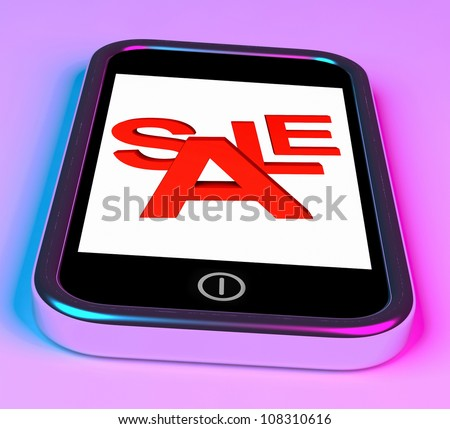 Sale Message On Smartphone Showing Online Discounts
