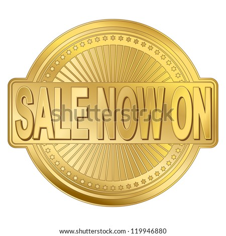 Sale now on gold badge vector illustration
