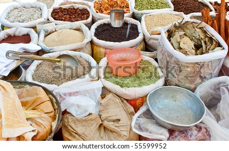 Sale of spices at the market