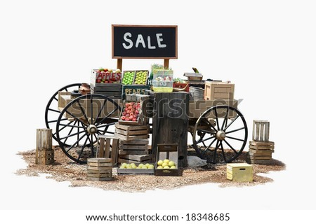 Sale of various product items on a wagon in Old Western style - stock photo