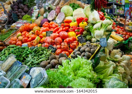 Sale of vegetables and fruit in bowls in the market