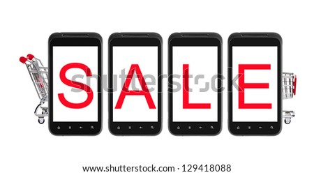 Sale on smart phone with shopping cart