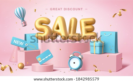 Sale poster in 3d pastel illustration, with cute balloon word on podium with some shopping related elements