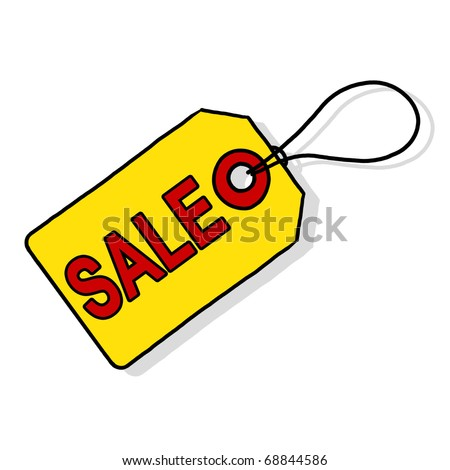 Sale price tag; Yellow sale price tag illustration