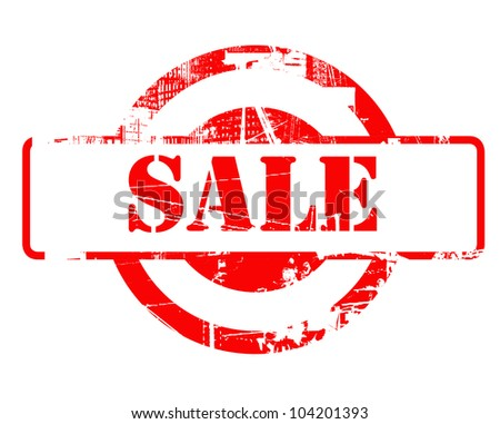 Sale red stamp with copy space isolated on white background. - stock photo
