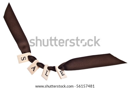 Sale Ribbon with Copy Space Isolated on White with a Clipping Path.