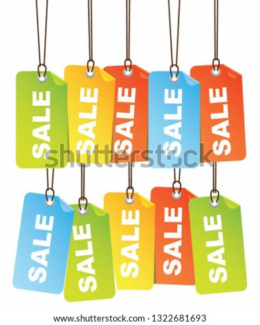 Sale Sale Sale colorful Sale hanging tags. For commercial use or advertisement for your store. Red Blue green yellow orange.