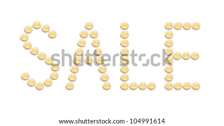 Sale sign made of 2 euro coins
