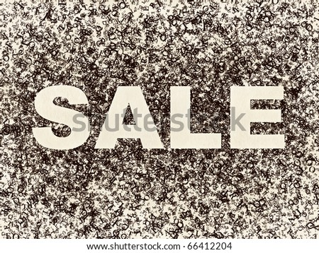 Sale Sign on Letters Background. Computer Graphic.