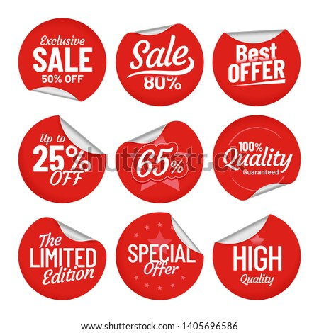 Sale sticker. Shopping tag label, red on sale stickers with bent edge and price off labels. Discount pricing labels, best sales prices badges coupons isolated  symbols set