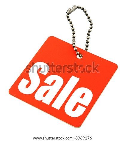 Sale tag isolated on pure white background, there is no copyright infringement