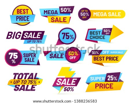 Sale tags. Retail sales stickers, promotion price label and store pricing banner sticker. Web sale promo tag or best special cheap prices discount. Total mega sale isolated  icons set