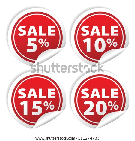 Sale tags with Sale 5 - 20 percent text on circle tags
