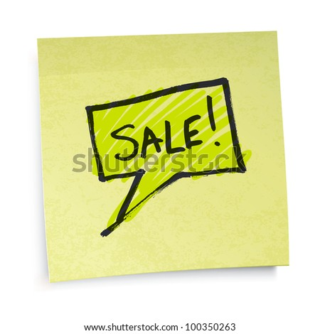 Sale text on yellow sticky paper, raster version.