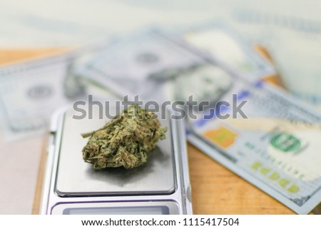 Sale, weighing of marijuana. Bud of marijuana on a jewelry scales against the background of dollars.