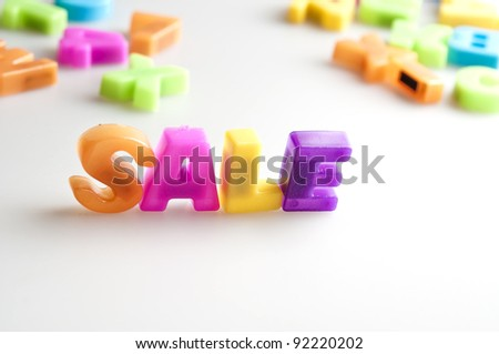 Sale word made by color letters