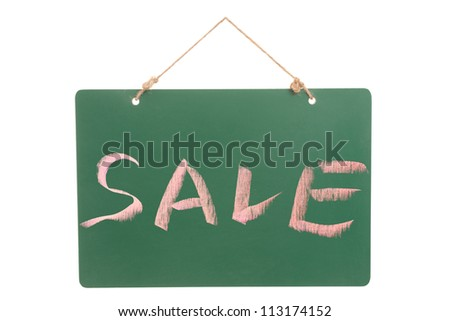Sale word on green board isolated against white background