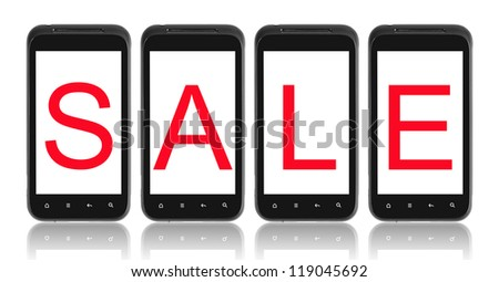 Sale word on phone screen. Isolated on white.
