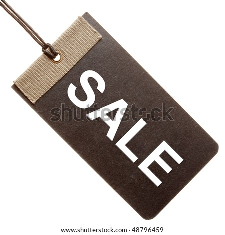 Sale written on black paper hang tag ( label ) isolated on white background