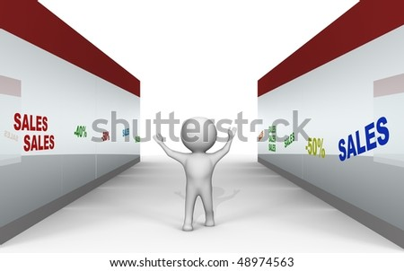 Sales at the shopping center - a 3d image
