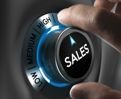 Sales button pointing the highest position with two fingers, blue and grey tones, Conceptual image for sales strategy or performance