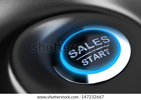 Sales button with blue light. 3D render over blue and black background suitable for sales motivation and solution concept.