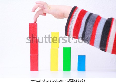 sales charts symbolized by wood toys............