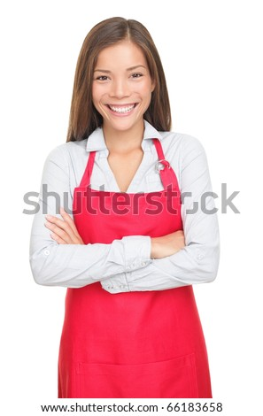 Sales clerk or small shop owner isolated on white background. Smiling young woman.