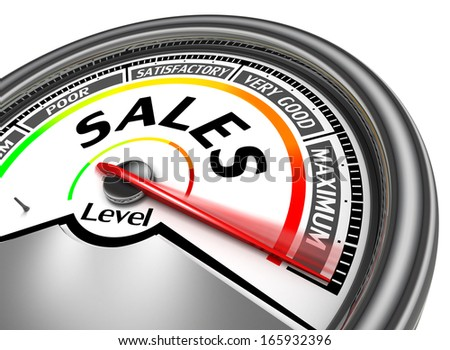 sales conceptual meter indicate maximum, isolated on white background