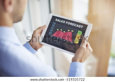 Sales forecast on digital tablet #519335722