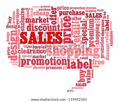 Sales info-text graphics and arrangement concept on white background (word cloud) - stock photo