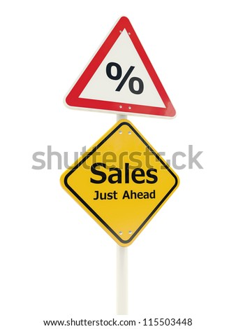 Sales Just Ahead road sign isolated on white