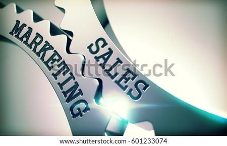 Sales Marketing - Illustration with Glow Effect. Sales Marketing on the Mechanism of Metal Gears. Communication Concept in Industrial Design. 3D Illustration.