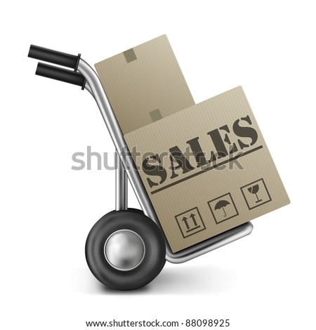 sales promotion or offer cardboard box on trolley online shopping in internet web shop for bargain and discount