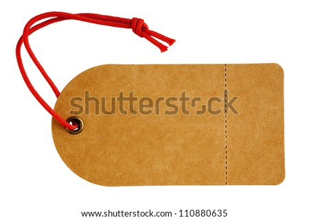 Sales tag or swing ticket, made from a rough textured brown card, with red string, perforated tear off sales label and isolated on white.