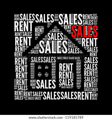 sales text collage Composed in the shape of house