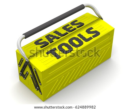 Sales tools. Closed yellow tool box on a white surface with text