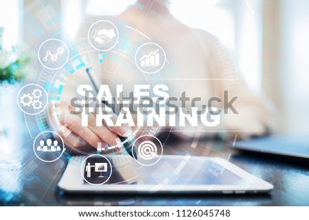 Sales training, Business development and marketing concept on virtual screen. #1126045748