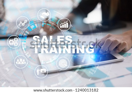 Sales training, Business development and marketing concept on virtual screen.