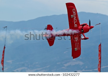 SALINAS, CA - SEPT 25: Sean D. Tucker demonstrates precision of flying and the highest level of pilot skills during the California International Airshow, on September 25, 2011, Salinas, CA.