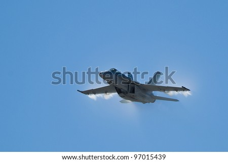 SALINAS, CA - SEPT 25: US NAVY Boeing F/A-18 Super Hornet demonstration during the California International Airshow, on September 25, 2011, Salinas, CA.