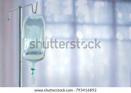 saline bag in emergency room at hospital